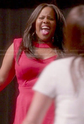 Mercedes's red cutout peplum top on Glee