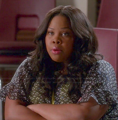 Mercedes's black ruffled sleeve jacket on Glee