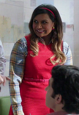 Mindy's blue plaid shirt and red textured shell on The Mindy Project