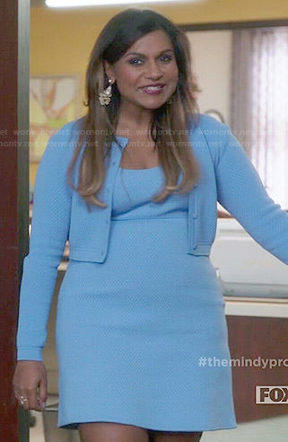 Mindy's baby blue quilted dress and cardigan set on The Mindy Project