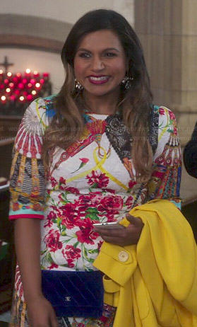 Mindy's floral and fan printed dress on The Mindy Project