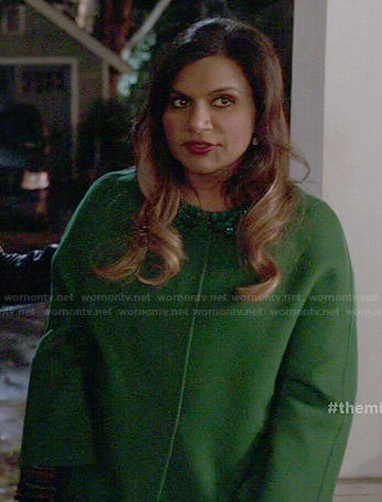 Mindy's green embellished collar coat on The Mindy Project