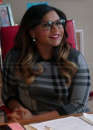 Mindy's grey plaid sweater dress on The Mindy Project
