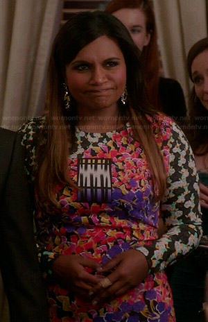 Mindy's mixed floral print long sleeve dress on The Mindy Project