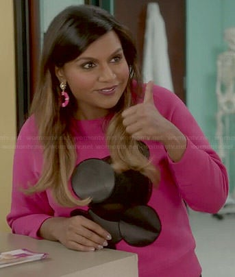 Mindy's pink sweater with leather and mesh dots on The Mindy Project
