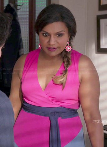 Mindy's pink and purple colorblock wrap dress on The Mindy Project