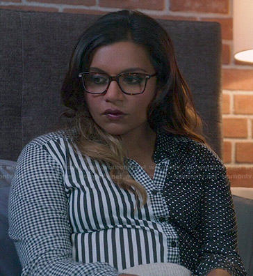 Mindy's black and white polka dot / striped / checked shirt on The Mindy Project