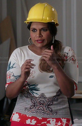 Mindy's white and orange printed top on The Mindy Project