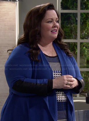 Molly's blue houndstooth top and leather panel cardigan on Mike and Molly