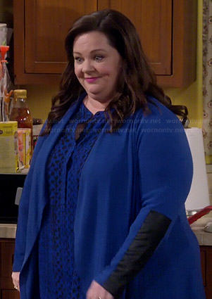 Molly's blue cardigan with leather sleeves on Mike and Molly