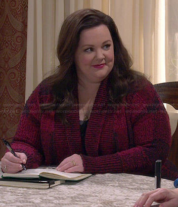 Molly's red checked cardigan on Mike and Molly