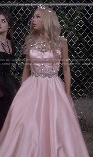 Mona's pink prom dress on Pretty Little Liars