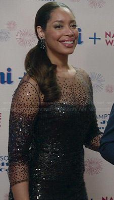 Natalie's black embellished illusion dress on Revenge