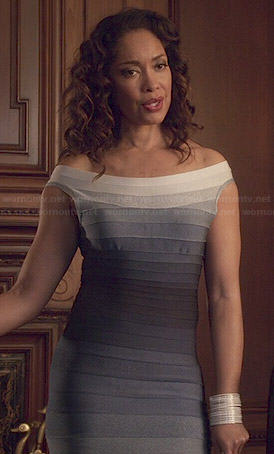 Natalie's blue ombre bandage dress on Revenge