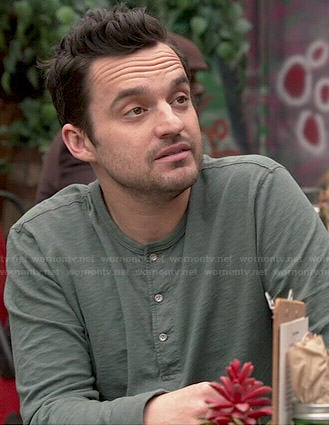Nick's grey-green henley on New Girl