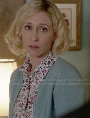 Norma's pink and purple floral print shirt on Bates Motel