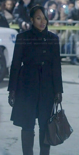 Olivia's black asymmetric coat on Scandal