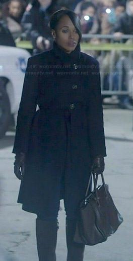 Olivia's black asymmetric coat on Scandal