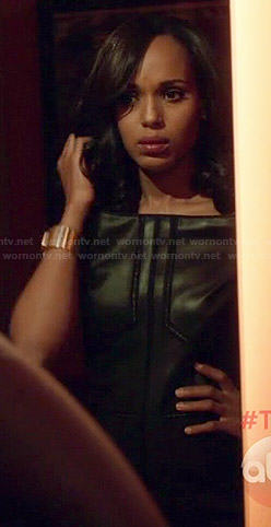Olivia's leather off-shoulder dress on Scandal
