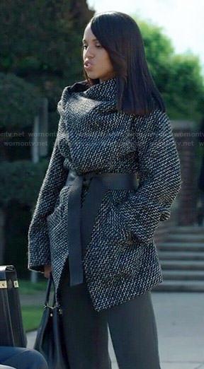 WornOnTV: Olivia's black tweed wrap coat on Scandal | Kerry