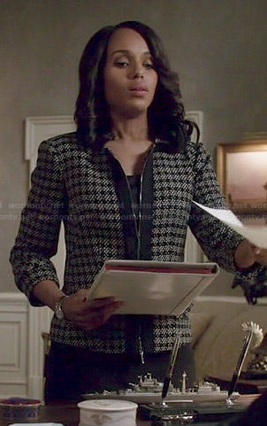 Olivia's checked tweed zip front jacket on Scandal