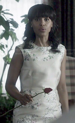 Olivia's champagne floral dress on Scandal