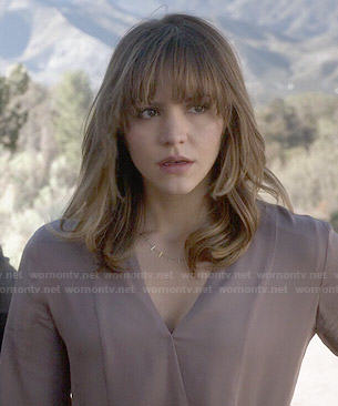 Paige's mauve cross front blouse on Scorpion