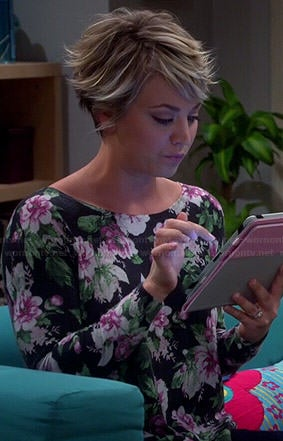 Penny's black floral sweater on The Big Bang Theory