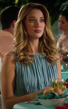 Petra's blue dress with gathered bust on Jane the Virgin