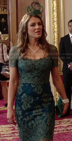 Queen Helena's blue and green lace dress on The Royals