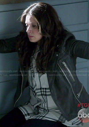 Quinn's white plaid shirt and leather jacket on Scandal