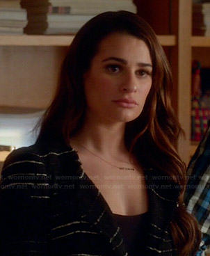 Rachel's black and white striped jacket on Glee