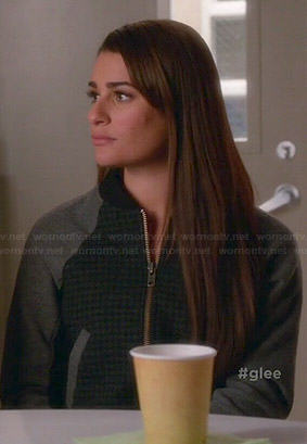 Rachel's grey houndstooth bomber jacket on Glee