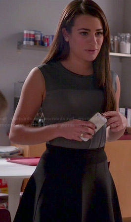 Rachel's grey top and black flared skirt on Glee