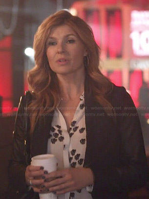 Rayna's white spot printed blouse on Nashville