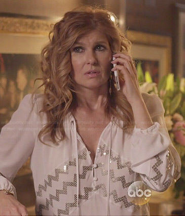 Rayna's white blouse with zig zag sequins on Nashville