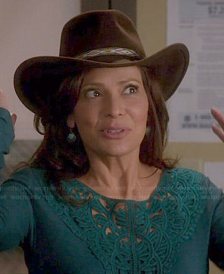 Regina's teal green embroidered front top on Switched at Birth