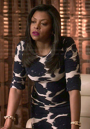 Cookie's black and white smudged floral print dress and studded sandals on Empire