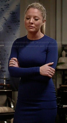 Rhonda's blue long sleeved dress on Empire