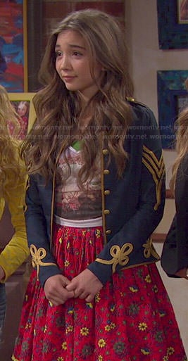Riley's blue military style jacket and red floral skirt on Girl Meets World