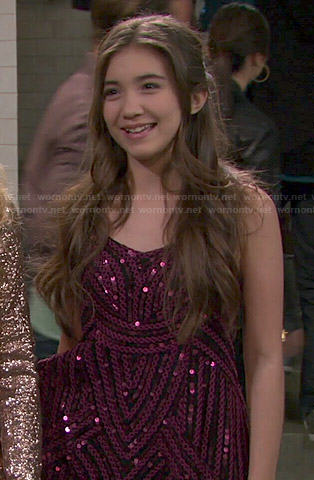 Riley's pink sequin dress and gladiator sandals on Girl Meets World