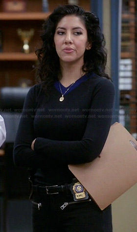 Rosa's black sweater with blue neckline on Brooklyn Nine-Nine