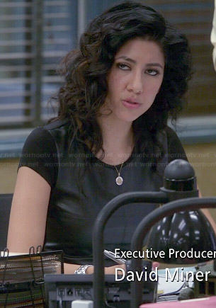 Rosa's black leather front tee on Brooklyn Nine-Nine