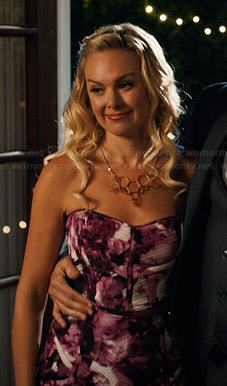 Shelby's pink floral strapless dress on Hart of Dixie