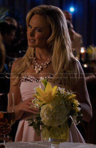Shelby's pink strapless crystal studded dress on Hart of Dixie