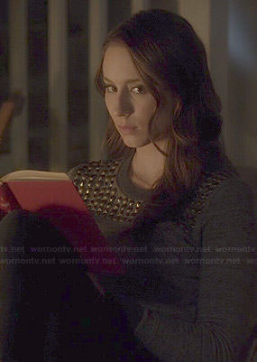 Spencer's grey studded sweater on Pretty Little Liars