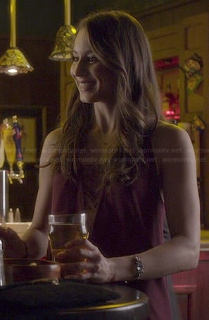 Spencer's burgundy triangle lace inset dress on Pretty Little Liars