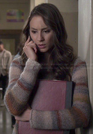 Spencer's striped knit sweater on Pretty Little Liars
