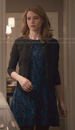 Stevie's blue and black floral lace dress on Madam Secretary