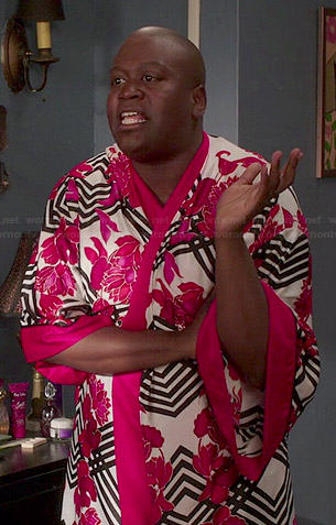 Titus's striped and floral print robe on Unbreakable Kimmy Schmidt